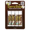 Sierra Bees, بلسم شفاه عضوي، جوز الهند، 4 عبوات، 0.15 أونصة (4.25 غ) للواحدة