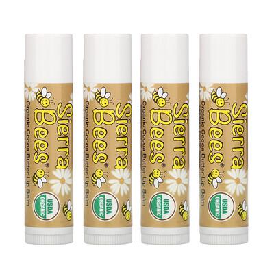 Купить Sierra Bees Органические бальзамы для губ, какао-масло, 4штуки в упаковке весом 0, 15унции (4, 25г) каждая