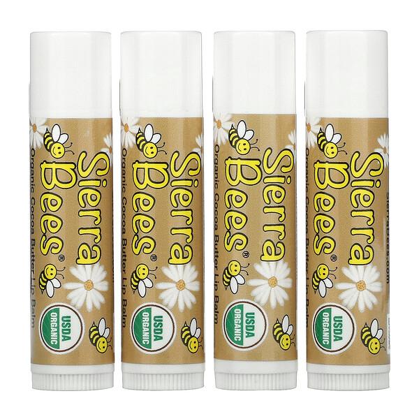 Organic Lip Balms, Cocoa Butter, 4 Pack, 0.15 oz (4.25 g) Each
