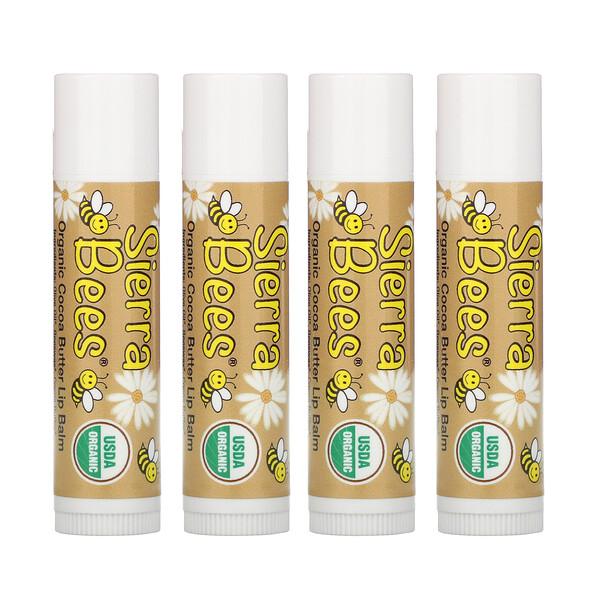 Organic Lip Balms, Cocoa Butter, 4 Pack, .15 oz (4.25 g) Each