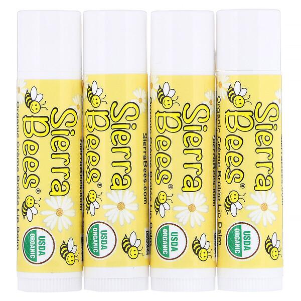 Sierra Bees, 有機潤唇膏,焦糖布丁,4支,每支0.15盎司(4.25克)