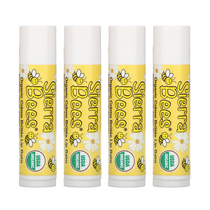Сиерра Бис, Organic Lip Balms, Creme Brulee, 4 Pack, .15 oz (4.25 g) Each отзывы покупателей