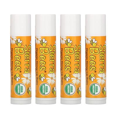 Купить Sierra Bees Органические бальзамы для губ, мед, 4 штуки в упаковке весом 0, 15унции (4, 25г) каждая