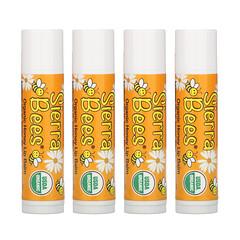 Sierra Bees, Organic Lip Balms, Honey, 4 Pack, .15 oz (4.25 g) Each