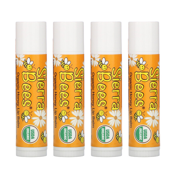 Organic Lip Balms, Honey, 4 Pack, .15 oz (4.25 g) Each