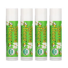 Sierra Bees, 有機潤唇膏,薄荷,4支,每支0.15盎司(4.25克)