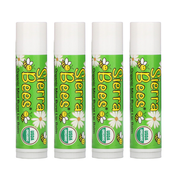 Organic Lip Balms, Mint Burst, 4 Pack, .15 oz (4.25 g) Each