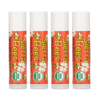 Купить Sierra Bees Органические бальзамы для губ, масло ши и аргановое масло, 4штуки в упаковке весом 0, 15унции (4, 25г) каждая