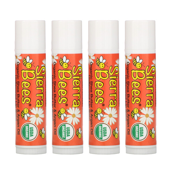 Organic Lip Balms, Shea Butter & Argan Oil, 4 Pack, .15 oz (4.25 g) Each