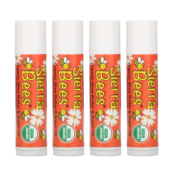Bálsamos labiales orgánicos, Mantequilla de Karité, Paquete de 4, 0.15 oz (4.25 g) cada uno.