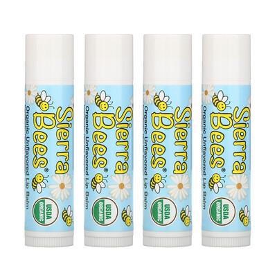 Купить Sierra Bees Органические бальзамы для губ, без вкуса, 4 шт. в упаковке, 0, 15 унции (4, 25 г) каждый