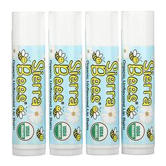 Sierra Bees, オーガニックリップバーム、風味なし、4パック、各.15 oz (4.25 g)