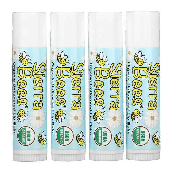Organic Lip Balms, Unflavored, 4 Pack, .15 oz (4.25 g) Each