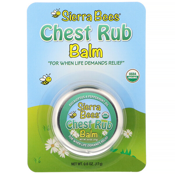 Sierra Bees, Chest Rub Balm, Eucalyptus & Peppermint, 0.6 oz (17 g)