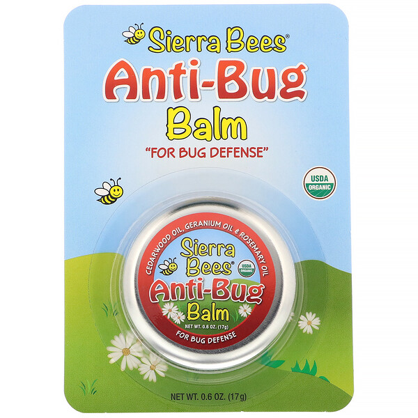 Sierra Bees, Anti-Bug Balm, Cedarwood, Geranium & Rosemary Oil, 0.6 oz (17 g)