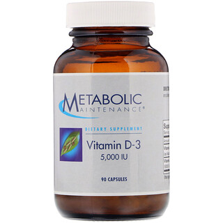 Metabolic Maintenance, Vitamin D-3, 5,000 IU, 90 Capsules