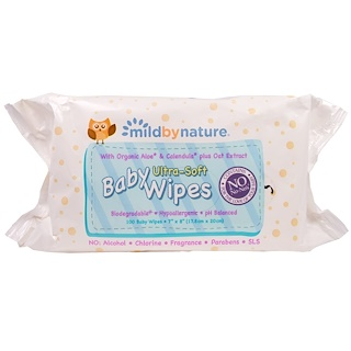 Mild By Nature, Ultra-Soft Baby Wipes, 100 Wipes