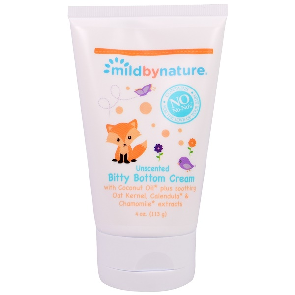 Mild By Nature, Bitty Bottom Cream, Unscented , 4 oz (113 g) (Discontinued Item)