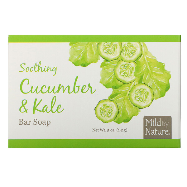 Mild By Nature, Soothing Bar Soap, Cucumber & Kale, 5 oz (141 g) (Discontinued Item)
