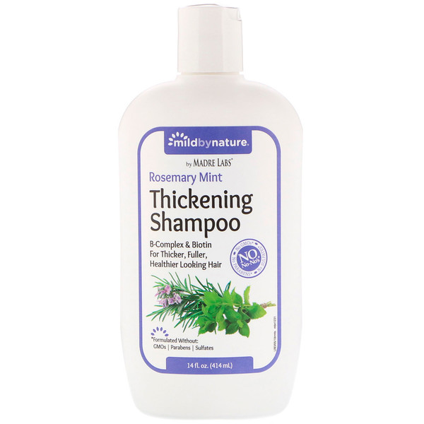 Mild By Nature, Thickening B-Complex + Biotin Shampoo by Madre Labs, No Sulfates, Rosemary Mint, 14 fl oz (414 ml)