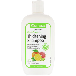 Mild By Nature, Thickening B-Complex + Biotin Shampoo by Madre Labs, No Sulfates, Citrus Squeeze, 14 fl oz (414 ml)