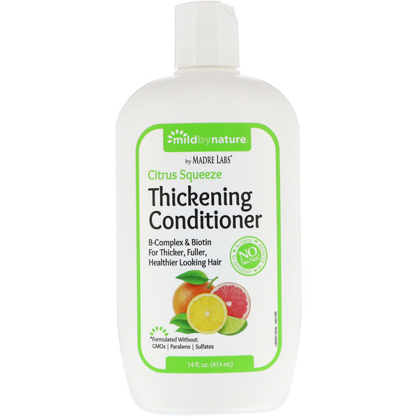 Mild By Nature, Thickening B-Complex + Biotin Conditioner by Madre Labs, No Sulfates, Citrus Squeeze, 14 fl oz (414 ml)