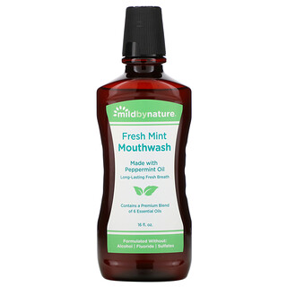 Mild By Nature, Mouthwash, Made with Peppermint Oil, Long-Lasting Fresh Breath, Fresh Mint, 16 fl oz