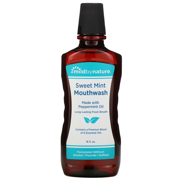 Mouthwash, Made with Peppermint Oil, Long-Lasting Fresh Breath, Sweet Mint, 16 fl oz