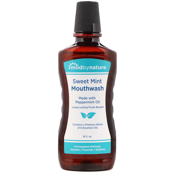 Mild By Nature, Mouthwash, Made with Peppermint Oil, Long-Lasting Fresh Breath, Sweet Mint, 16 fl oz