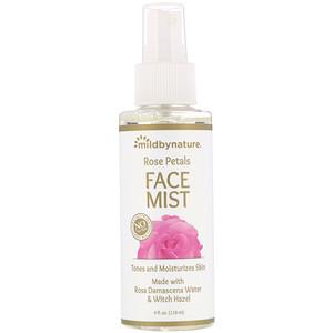 Mild By Nature, Witch Hazel, Rose Petal Face Mist, Alcohol-Free, 4 fl oz (118 ml)
