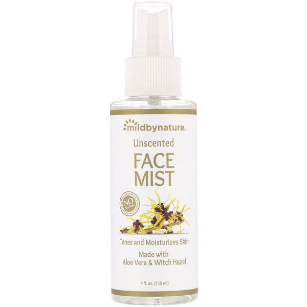 Mild By Nature, Witch Hazel, Unscented, Face Mist, Alcohol-Free, 4 fl oz (118 ml)
