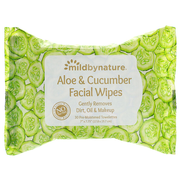 Aloe & Cucumber Facial Wipes, Biodegradable, 30 Pre-Moistened Towelettes
