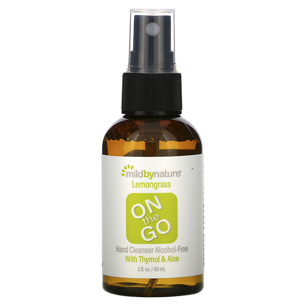 On the Go Hand Cleanser, Alcohol-Free, Lemongrass, 2 fl oz (60 ml)