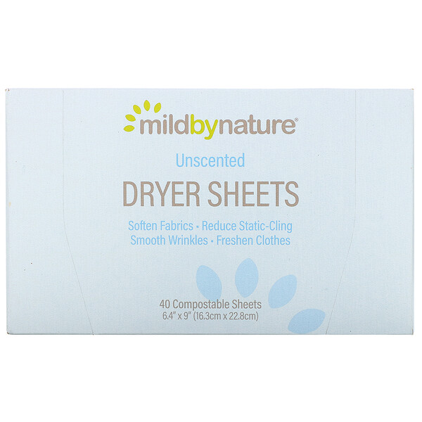 Dryer Sheets, Unscented, 40 Compostable Sheets