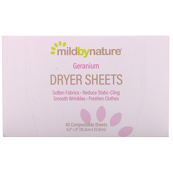 Dryer Sheets, Geranium, 40 Compostable Sheets