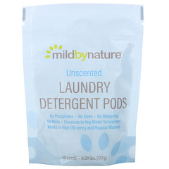 Mild By Nature, Laundry Detergent Pods, Unscented, 10 Loads, 0.39 lbs (177 g)