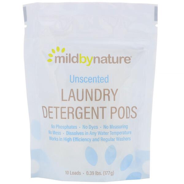 Mild By Nature, مغلف تنظيف الملابس، بدون رائحة، 10 قطع، 0.39 رطل (177 جم)