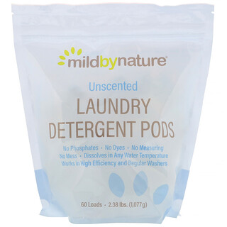 Mild By Nature, Laundry Detergent Pods, Unscented, 60 Loads, 2.38 lbs (1,077 g)
