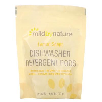 Mild By Nature Средство для мытья посуды в посудомоечной машине, с ароматом лимона, 10капсул, 0,39фунта, 177г (6,24унции)