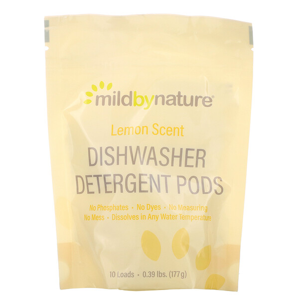 Mild By Nature, Automatic Dishwashing Detergent Pods, Lemon Scent, 10 Loads, 0.39 lbs, 6.24 oz (177 g)