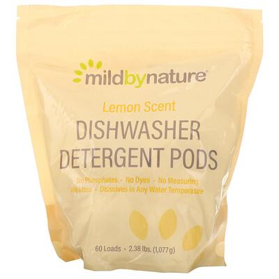 Mild By Nature Средство для мытья посуды в посудомоечной машине, с ароматом лимона, 60капсул, 1077г (2,38фунта, 36,48унции)
