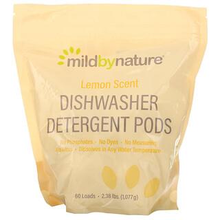 Mild By Nature, Cápsulas de detergente para lavavajillas automáticos, Aroma a limón, 60cargas, 2,38lb, 1077g (36,48oz)