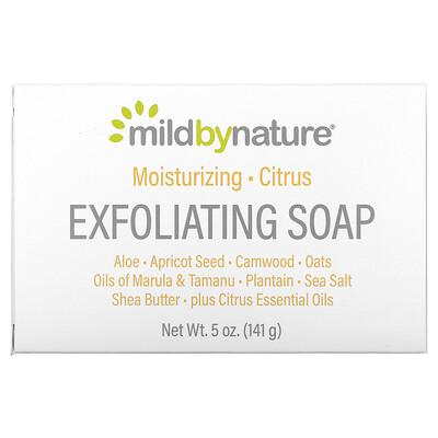 Купить Mild By Nature отшелушивающее мыло, с маслами марулы, таману и ши, с цитрусовым ароматом, 141г (5унций)