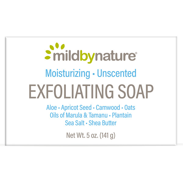Exfoliating Bar Soap, with Marula & Tamanu Oils plus Shea Butter, Unscented, 5 oz (141 g)