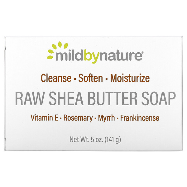 Mild By Nature, Raw Shea Butter, Bar Soap, with Vitamin E, Rosemary, Myrrh & Frankincense, 5 oz (141 g)
