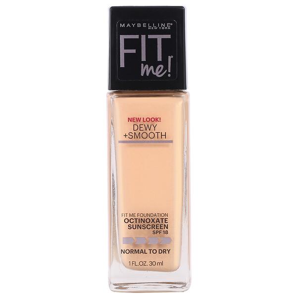 FitMe, Dewy + Smooth, Base suavizante e hidratante, 125Nude Beige (beige piel), 30ml (1oz.líq.)