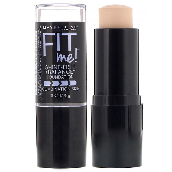 Fit Me, Shine-Free + Balance Stick Foundation, 110 Porcelain, 0.32 oz (9 g)