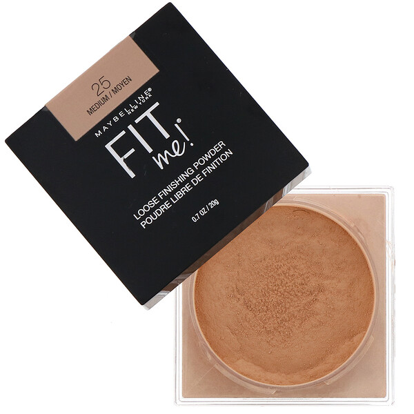 Fit Me, Polvo de acabado volátil, 25 Medium (medio), 20 g (0,7 oz)