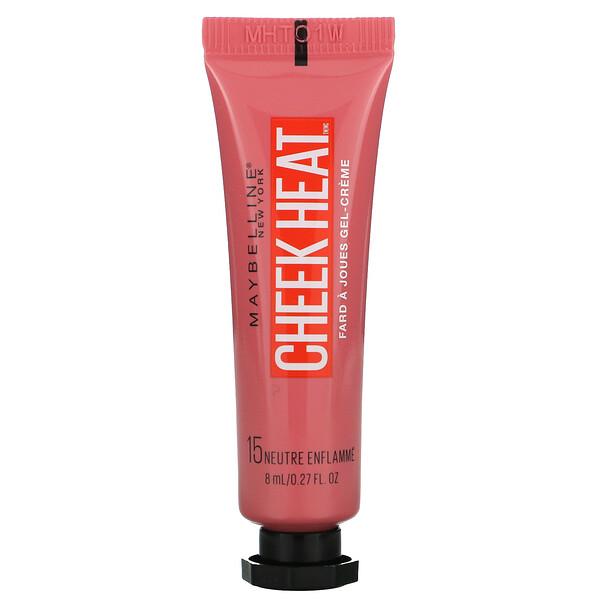 Maybelline, Cheek Heat,凝胶霜腮红,裸烧伤,0.27 液量盎司(8 毫升)