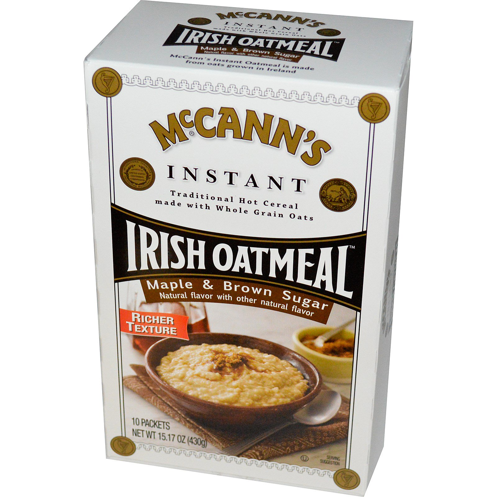 McCann's Irish Oatmeal, Растворимая овсяная каша, кленовый и коричневый сахар, 10 пакетиков, по 43 г каждый